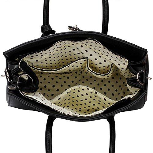 Trendstar similpelle di progettista, da donna a forma di lucchetto, sacchi a spalla-Borsa Borsa Nero (Noir1)