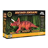 Discover with Dr. Cool Triceratops Action Figure – Includes Real Dinosaur Bone Fossil!