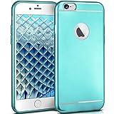 moex iPhone 6S | Hülle Silikon Türkis Smooth Back-Cover Chrom Matt Silikonhülle Ultra-Slim Schutzhülle Metallic Handy-Hülle für iPhone 6/6S Case Dünn