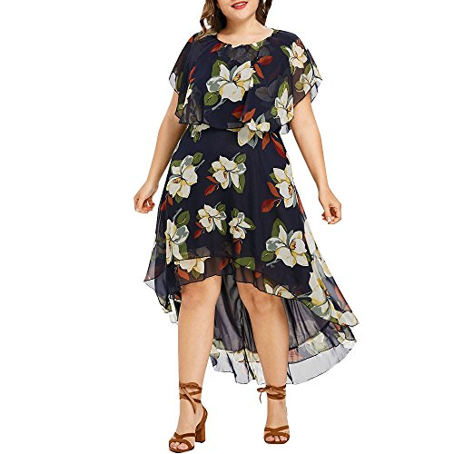 Junjie Damen Kleid,Größe Größe SolideRückenfrei Plissiertes Lockeres Swing T-Shirt Kleid Sommer Print Vintage Bodycon Minikleid Abend Rüschen Unregelmäßige Elegantes Maxi Spitze Patchwork Floral