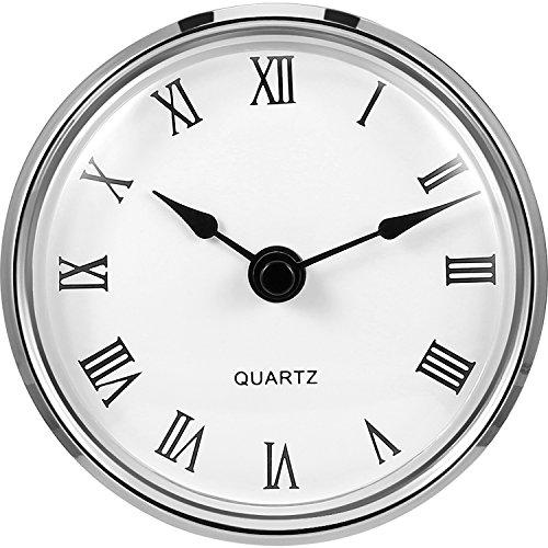 3-1/8 Pulgadas (80 mm) de Fit-up/Inserto Reloj de Cuarzo con Número Romano, Movimiento de Cuarzo (Borde Plateado)