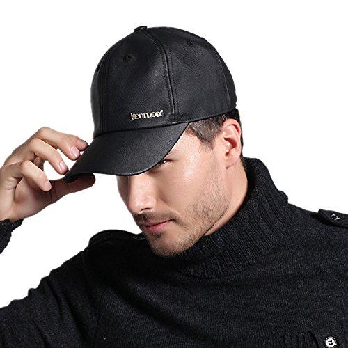 Kenmont Automne Printemps Homme Noir Pu cuir Casquette Visière Hat