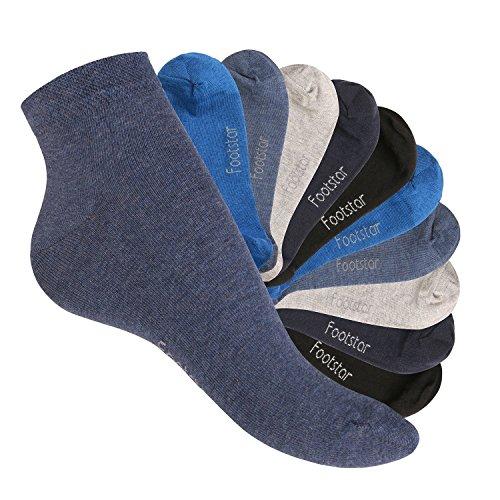 Footstar 10 Paar SNEAK IT! Unisex Kurzschaft Sneaker Jeanstöne-35-38