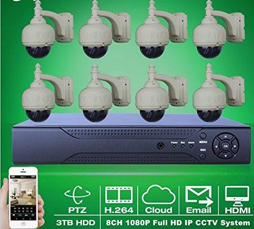 Gowe 1080P PTZ Kamera Zoom 3–10mm Objektiv 22ir Outdoor Dome Netzwerk IP-Kamera ONVIF 8CH H.264NVR Video Netzwerk CCTV System 3TB HDD