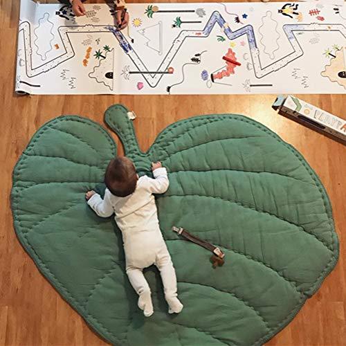 DOTBUY Krabbeldecke für Baby, Krabbeldecke Kinder Kuschelige Cartoon Spielmatte Teppich Baumwolle Crawl für Gym Kinderzimmer Aktivität Dekoration - Herzförmig & Blätter (Einheitsgröße,Grün) - Blätter Teppich