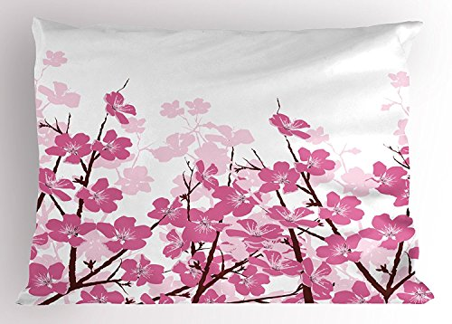 Asian Pillow Sham, Japanese Cherry Blossoms Sakura with Branches Spring Flower Garden Artsy Illustration, Decorative Standard Size Printed Pillowcase, 20X30 Inches, Pink White (Sham Blossom)