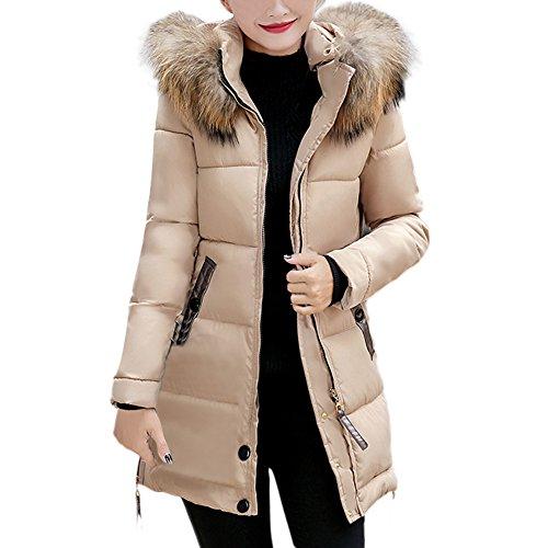 Invierno Slim Abrigo con Capucha Acolchado Chaqueta Largo con Capucha para Mujer (Amarillo, L)