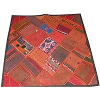 India Sari Throw Pillow Shams, Vintage Sari Beaded Patchwork Embroidered Boho Decor Floor Cushion Covers