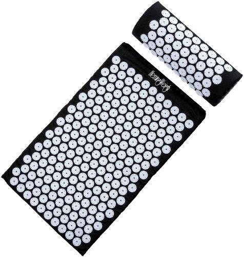 Black Bottom Mat (HemingWeigh Complete Acupressure Mat and Pillow Set with Bonus Carry Bag (Black) by HemingWeigh)