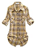 Match Damen Flanell Kariert Shirt #B003(2021 Checks#3,Large(Fit 38''-40''))