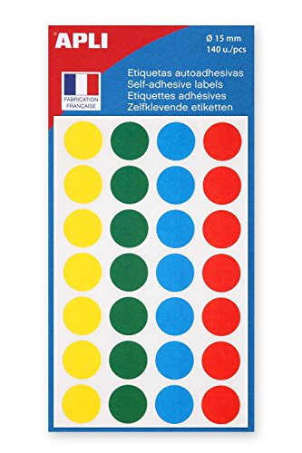 AGIPA Lot de 3 Sachets de 140 étiquettes Gommettes de signalisation Rondes 15 mm Assorties