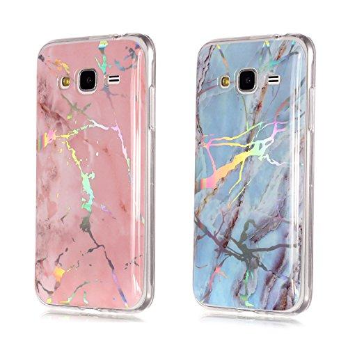 LuckyW Cover Samsung J5 2015 Silicone, 2 Packs Silicone Laser Transparent [Marmo] Custodia per Samsung Galaxy J5 2015 SM-J500F Protettivo Limpido Bumper Ultra Sottile Skin Antiurto Cover