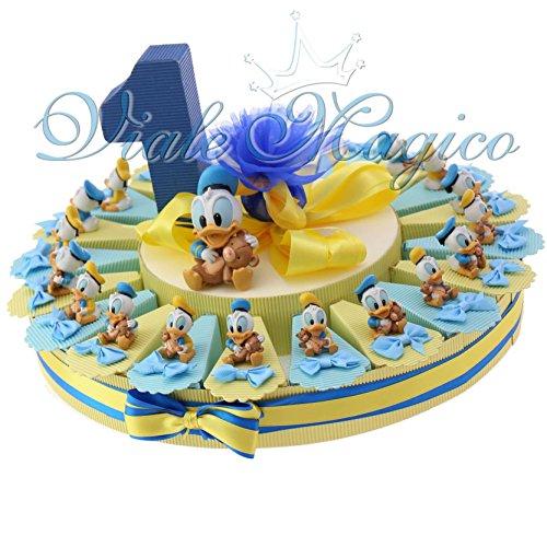 Bomboniere nascita battesimo primo compleanno paperino disney statuina torta portaconfetti … (20 pezzi)