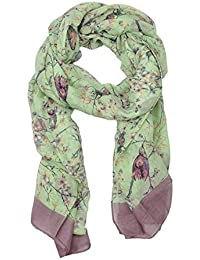 World of Shawls Ladies Women's Colorful Japanese Cherry Blossom Bird And Floral Print Scarf Scarves Maxi Sarong Wrap