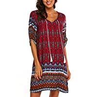 Women's Bohemian Vintage Floral Printed Loose Casual Boho Tunic Dress Wine Red,M