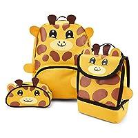 Zappi Co Childrens Boys Girls Animal School Nursery Backpack, Lunch Bag & Pencil Case Set - Giraffe