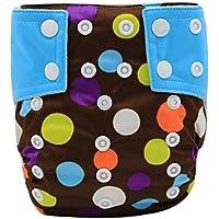 Happy Cherry Pañales Ajustables de Bebé (4-15 kg) Tela Reutilizable y Transpirable Cloth Diaper con Botones de Modelos Lindos