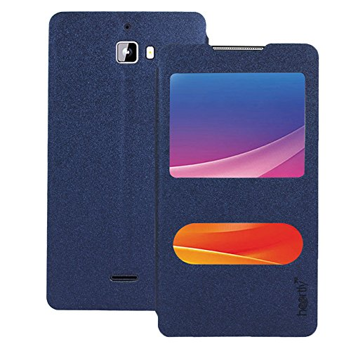 Heartly GoldSand Sparkle Luxury PU Leather Window Flip Stand Back Case Cover For Micromax Canvas Nitro A310 A311 Dual Sim - Power Blue
