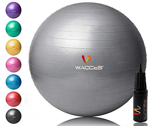 Wacces Yoga Ball mit Handpumpe (grau, 55cm) (Workout Ausrüstung Stuhl)