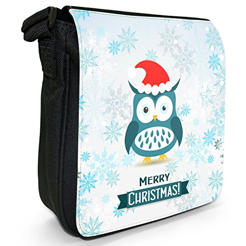 Winter Wonderland fiocchi di neve animali piccolo nero Tela Borsa a tracolla, taglia S Owl Wearing Santa Hat