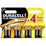 Duracell Plus Batteries AA Alkaline Pack of 4 with 4 Free