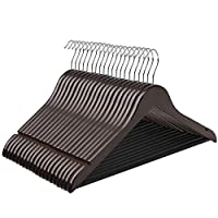 SONGMICS Solid Wooden Clothes Hangers 44.5 cm Set of 20 with Trouser Bar and 2 Grooves, 360° Swivel Hook