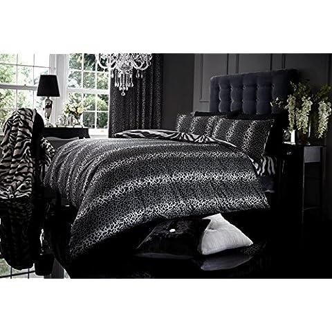 Leopardo Stampa Set Copripiumino con federe, set di biancheria da letto singolo, matrimoniale, king Sady–Letto Copripiumino Set, Policotone, Grigio, King