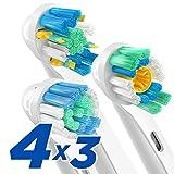 ORAX 12 pcs. Variété Brossettes pour Oral B - Têtes de brosse à dents de rechange pour Oral B brosse à dent électrique - 4pcs de modèle