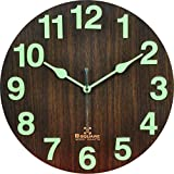 #7: B Square 1 Feet Radium Night Glow Natural Wood Wall Clock for Home Bedroom Living Room Kitchen with Sweep (Silent) Movement BSWC060