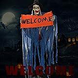 Halloween Deko Garten Gruselig Horror Sound Control Geist Gespenst Skelett Hängend Zombie Demon mit Leuchtenden Augen Halloween Props Welcomefür Tür Hausdeko (Blau)
