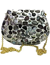 Mother Of Pearl Clutch MOP Shell Bag Metal Purse Stone Wallet Sling Bag Clutch Boho Studded Clutch Tribal Wallet...