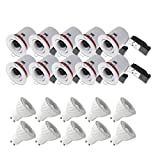 PACK 10X Support de Spot LED inclinable BBC RT2012 + Ampoule LED GU10 Spot 6W Dimmable 4000°K