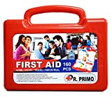 #7: Dr Primo First Aid Kit to Clean, Protect and Treat Injuries, 160 Pieces Set - 25 Person Kit for Office, Home, Car, School, Emergency, Camping, Hunting, Outdoor and Sports