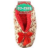 Co-Zees Damen Luxus Weihnachten Design Sherpa-Fleece Gefütterte Hausschuhe - Braun Rentier, 4-7 UK