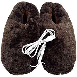 Pantuflas térmicas de felpa suave con calefacción por USB, 1 par de zapatos de invierno con calefacción eléctrica (café)