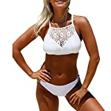 Addfect Spitze Hollow High Neck Neckholder Zweiteilig Damen Bikini Set mit Triangel Bademode Badeanzug (EUR34-36(Medium), Weiß)