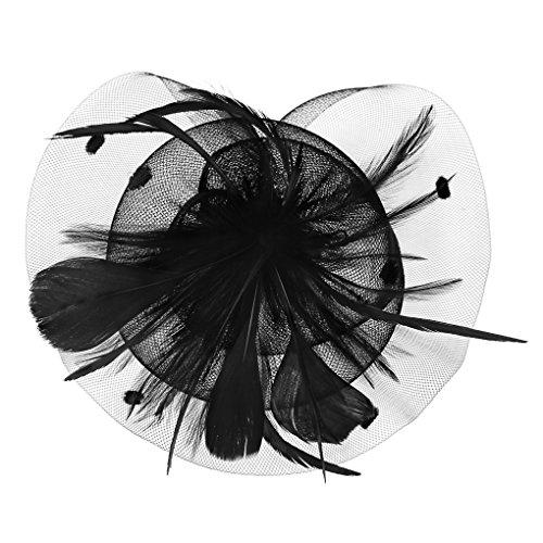 Für Haare Frau Kostüm Rote - JIAHG Damen Fascinator Hanf Hut atmungsaktiv Braut Feder Blumen Kopfschmücke Brautschmuck Haar Clip Hut für Party Kirche Hochzeit Festival
