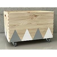 Holz Spielzeugkiste Weiß/Grau - Rollen Triangel skandinavisch