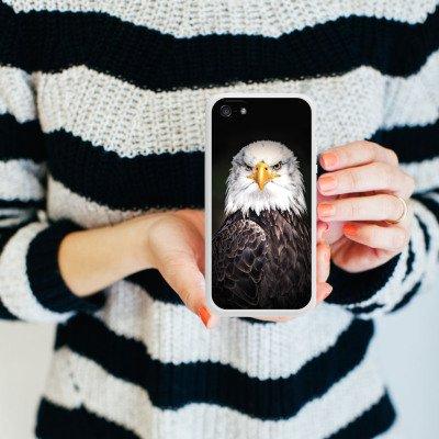 Apple iPhone 5s Housse Étui Protection Coque Aigle Aigle Oiseau Housse en silicone blanc