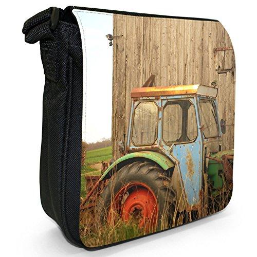 Landfahrzeug Traktor Kleine Schultertasche aus schwarzem Canvas Vintage Landszene