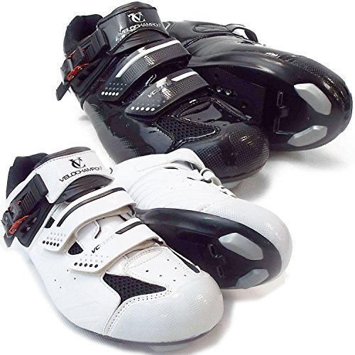 VeloChampion Elite Road Cycling Shoes (pair) Cycling Road Shoes Black / Silver 41