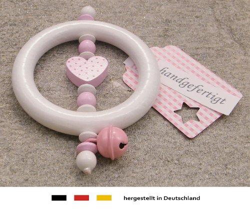 Baby Greifling Rassel Beißring | Holz Lernspielzeug als Geschenk zur Geburt & Taufe | Mädchen Motiv Herz in rosa