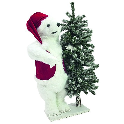 Europalms 105 cm of polar bear with snow figure on a fir tree