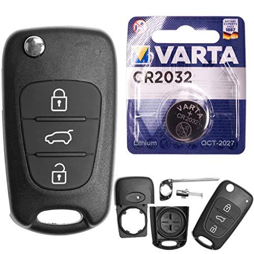 Hyundai - Guscio di ricambio per chiave auto con telecomando a 3 tasti + batteria per Hyundai i20 PB i30 FD Elantra ix20 JC ix35 Veloster
