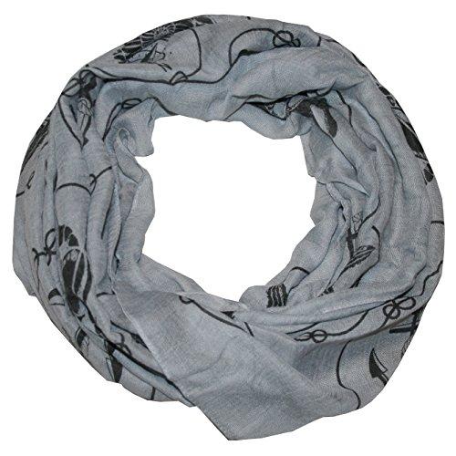 MANUMAR Loop-Schal für Damen | feines Hals-Tuch in grau mit Maritim Motiv als perfektes Herbst Winter Accessoire | Schlauch-Schal | Damen-Schal | Rund-Schal | Das ideale Geschenk für Frauen