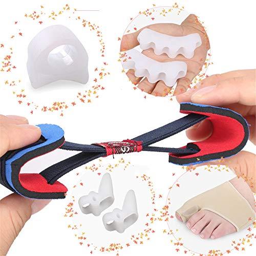 Nächtliche Behandlung (Toe Orthesen Toe Splint Kit - 5 Sätze für Hallux Valgus und nächtliche Schmerzlinderung, einschließlich Ring L Weiß * 1 Fünf-Loch Toe Weiß * 1 Doppel Loch Weiß * 1 Toe Guard Fußabdeckung L * 1 Korrekt)