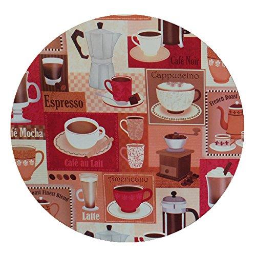 DecoHomeTextil Wachstuch Kaffee Tee Cappuccino Espresso Rund Oval Größe & Farbe Wählbar Kaffee...