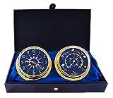 MASTER-MARINER USA Blau Mariner Collection, nautisches Cabin Set, 14,6cm Durchmesser Uhr und Barometer Instrumente, Gold Tone Finish, Blau Signal Flagge Zifferblatt