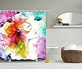 QEES bunter moderner Duschvorhang Künstlerische Bilder Wasserdichter Dusche Vorhang aus Polyster Anti-Schimmel Textilien Wasserabweisend Mit Ringen YLB10 (3#)