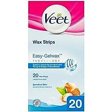 Veet - Bandas de cera depilatoria para pieles sensibles (con vitamina e y aceite de almendra